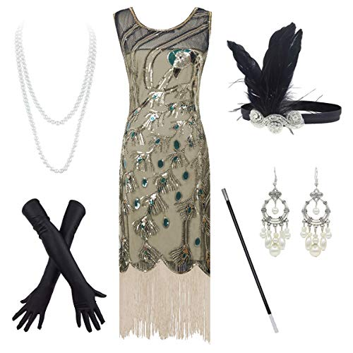 20's Vintage Peacock Sequin Fringed Party Flapper Dress Costume Accessories Set (2X-Large, Golden)