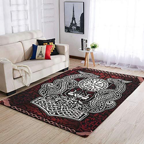 Huffle-Pickffle Alfombra Viking Odin Dragon antideslizante, alfombra de suelo para mesa de café, color blanco, 50 x 80 cm