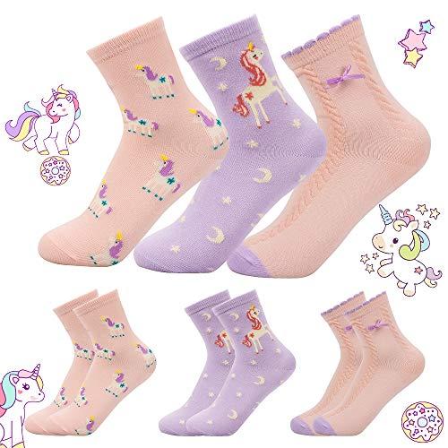 MMTX Kinder Socken Mädchen, Bunte Einhorn Gemustert Socken aus Baumwolle Kleinkind Karikatur Niedliche Tier Socken für 4-12 Jahre, 3 Paare (L(7-9 Jahre))