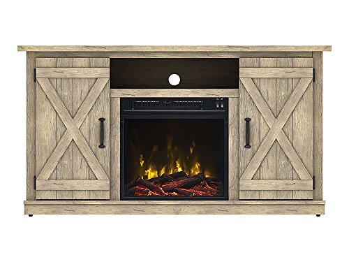 Comfort Smart Killian Electric Fireplace TV Stand, Ashland Pine
