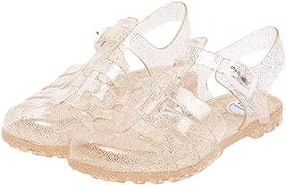 Women's Jelly Sandals T-Strap Slingback Flats Clear Summer Beach Rain Shoes