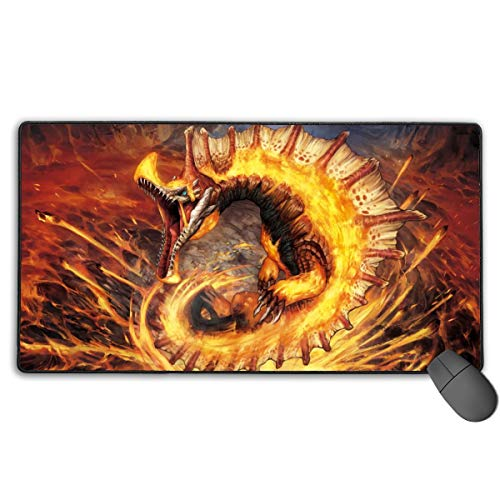 Portable Laptop Mouse Pad with Rubber Base, Huge Premium-Textured Mouse Mat, Monster Hunter World Best Gaming Mousepad for Kids Desktop