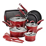 Rachael Ray 16223 Brights Nonstick Cookware Set / Pots and Pans Set - 14 Piece, Red Gradient
