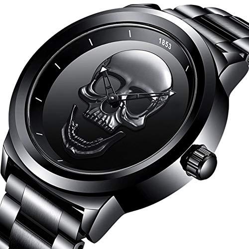 Watch-LUTEM Herren Armbanduhren Männer Schädel wasserdichte Uhren Uhr mit Edelstahlband, Business Casual Uhr, Leuchtzeiger, Quarzwerk