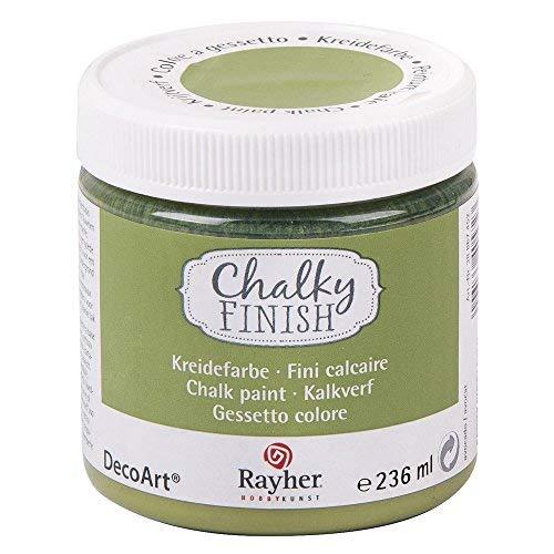 RAYHER HOBBY 38868452 Chalky Finish auf Wasser-Basis, Kreide-Farbe für Shabby-Chic-, Vintage- und Landhaus-Stil-Looks, 236 ml, avocado