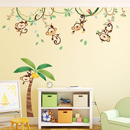 DECOWALL DA-1507 Monos en una Enredadera Vinilo Pegatinas Decorativas Adhesiva Pared Dormitorio Saln Guardera Habitaci Infantiles Nios Bebs