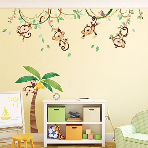 Decowall Monkeys Stickers Removable Nursery