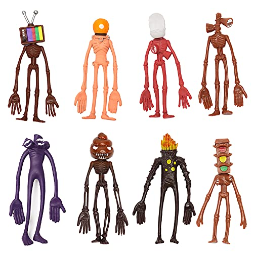 Fmlkic 8 PCS Siren Head Action Figure,Siren Head Figura PVC de Dibujos Animados,Siren Head Model Toy,Juguete de muñeca Modelo de Terror, cumpleaños para niños Regalo