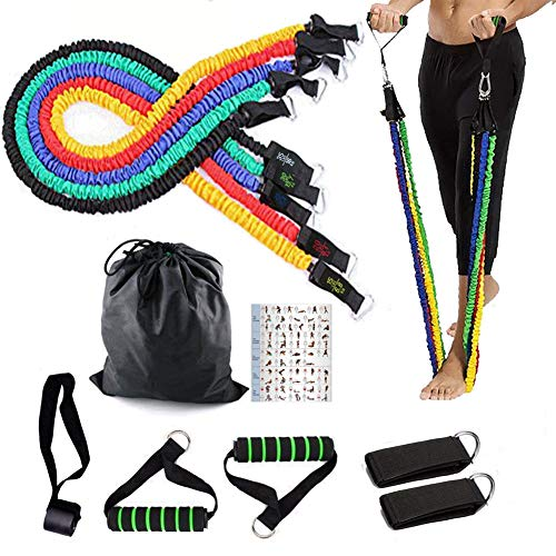 Set of Resistance Bands Yoyika 11 Pieces with 5 Elastic Bands for Physical Exercises Fitness Training Crossfit, Set of Elastic Bands for Gym / Home, Includes Transport Bag