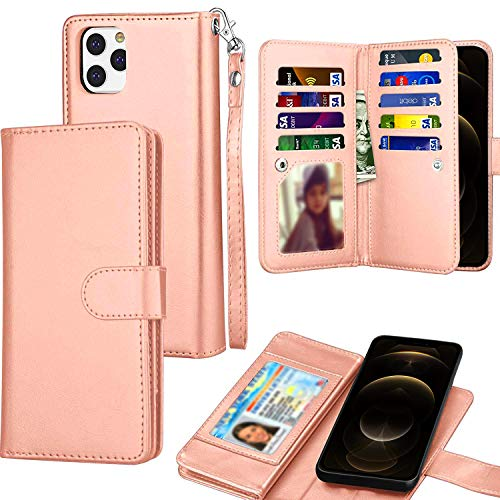 Compatible with iPhone 12 Pro Max Wallet Case 6.7 inch, Luxury Folio Flip ID Cash Credit Card PU Leather Phone Cover, with Detachable Magnetic Hard Cases Lanyard (Rose Gold)