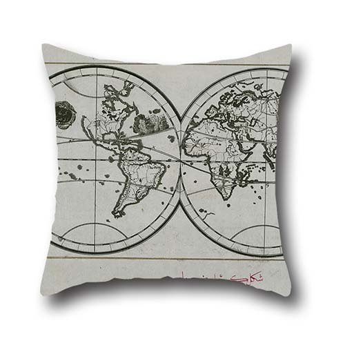 The Oil Painting Piri Reis - World Map In A Double Hemisphere Pillow Shams Of ,20 X 20 Inches / 50 By 50 Cm Decoration,gift For Drawing Room,living Room,pub,bar,son,festival (both Sides)