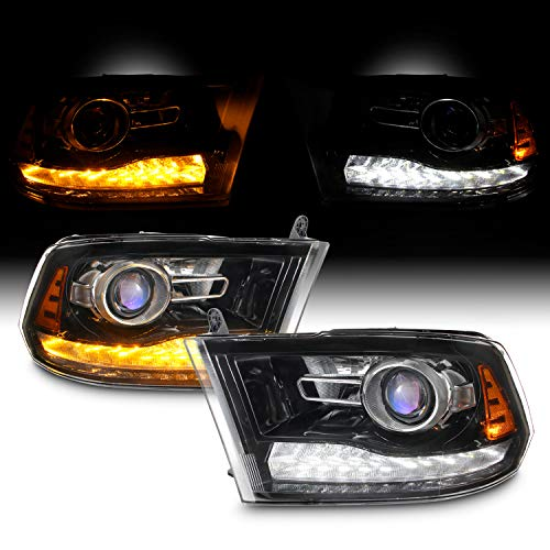 [Halogen Upgrade]For 09-18 Dodge Ram 1500 2500 3500 Blk LED DRL Switchback Projector Headlight Lamps