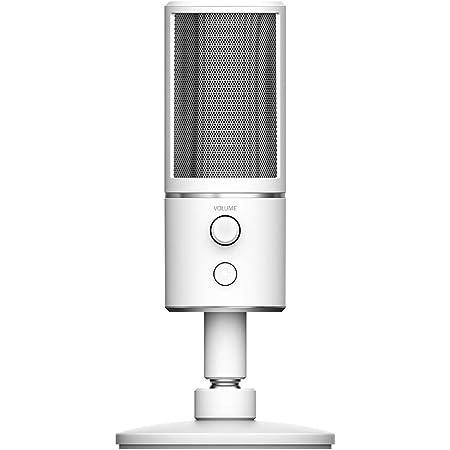 Razer Seir?n X Mercury - Micrófono Condensador Digital USB de Alta definición (Blanco) - Optimizado para transmisión de Twitch/Youtube - Soporte de Choque Integrado