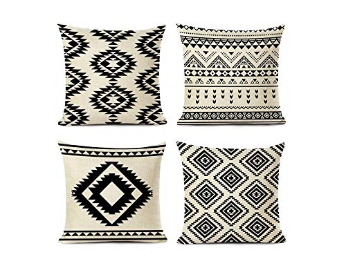 Jwqing Pack of 4 Decorative Pillow Covers Retro Nordic Style Ethnic Geometric Pattern Square Cushion Cover Throw Pillow Covers Home Decor for Sofa Bedroom-A_60x60cm(Cushion_Cover)