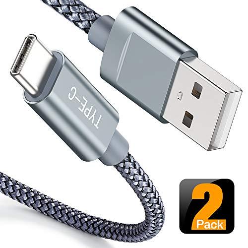 Snowkids USB C Kabel 2Stück 1M, USB C Kabel 2,4A Nylon Geflochten Schnelles USB C Datenkabel für Samsung S8 S9 S10 Note 10 9 8, LG G6 G5 V30 V20, Huawei P10 und Andere USB C Geräte-Grau