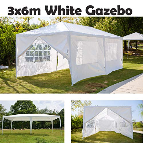 AutoBaBa Garden Gazebos, 3x6m Garden Gazebo Marquee Tent with Side Panels, Fully Waterproof, Powder Coated Steel Frame for Outdoor Wedding Garden Party, White, 6 Side Panels