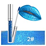 Rossetto Glitterato 4Ml Lucidalabbra Liquido Impermeabile Non Appiccicoso a Lunga Durata Azzurro