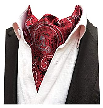 MENDENG Men s Red Floral Paisley Ties Woven Silk Cravat Necktie Scarf Ascot Tie
