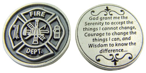 Religious Gift Fire Department Fireman Protection Token with Serenity Prayer on Back
