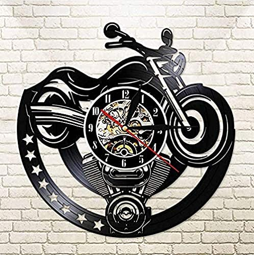 ZYBBYW Reloj de Vinilo Reloj de Pared de Tablero navideño Reloj de Vinilo Reloj de Pared Hombre Cueva Taller Reloj Cinturón Colgante de Pared Retro 30cm