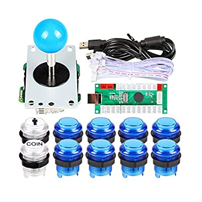 EG Starts 1 Player USB LED Encoder To PC Games Blue Stickers Controllers + 10x LED Illuminated Push Buttons For Arcade Joystick DIY Kits Parts Mame Raspberry Pi