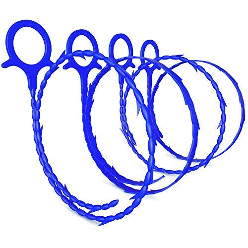 AWINNER パイプクリーナー 5本セット ドレンホースクリーナー パイプブラシ ワイヤーブラシ 3Dパイプブラシ 髪 の毛 生ゴミ つまり 除去 排水管 排水溝 排水口 配管掃除 浴室 洗面所 (ブルー)