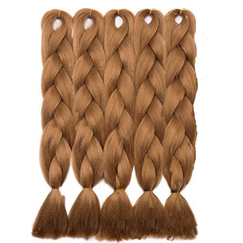 5 Packs Braids Extensions Flechten Hair Extensions Crochet Haar Kunsthaar Kanekalon Colorful 5pcs-24'-500g Kastanienbraun
