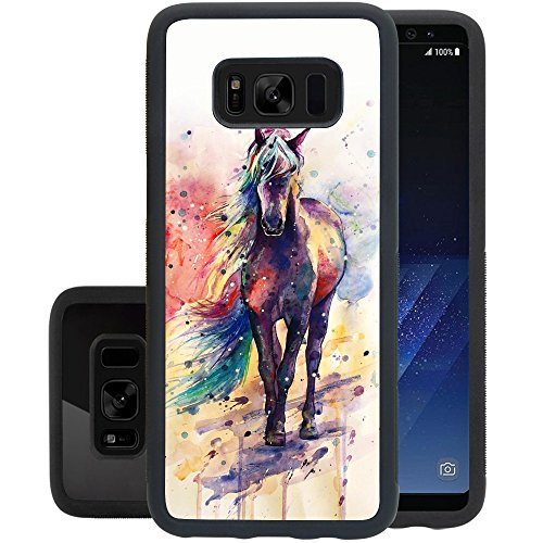 Watercolor Horse Samsung Galaxy S8 plus Case, PC and TPUShockproof Slim Anti-Scratch Protective Kit with Heavy Duty Dual layer Rugged Case Non-slip Grip Cover for Samsung Galaxy S8,Black