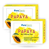 PuraGenic Papaya Skin Whitening Soap, 75gm with Papaya Extract, Kojic acid and Gluta thione, Skin lightening bathing bar for men and women - Combo Pack of 2, Helps in acne and get beautiful skin