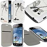 Seluxion LM01 - Funda tipo libro para Samsung Galaxy Trend Plus (incluye protector de pantalla), diseño de libélula