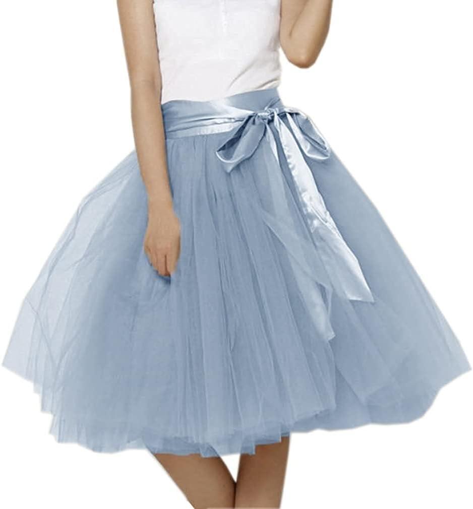 Women's XL Long Skirt, A-line Short Skirt, Tulle Long Skirt, Tulle Wedding Dress, Tulle Dress (Color : Navy Blue, Size : Small)