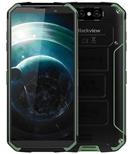 """Blackview BV9500 - Batería 10000 mAh IP68 / IP69K impermeable / a prueba de golpes / polvo Smartphone Android 8.1, FHD pantalla + de 5,7 """"(18: 9), Octa Core 2,5 4 GHz GB + 64 GB, carga rápida 12V / 2A (medios inalámbricos apoyado ), Cámara trasera 16 MP, GPS / NFC / Huella digital - verde"""