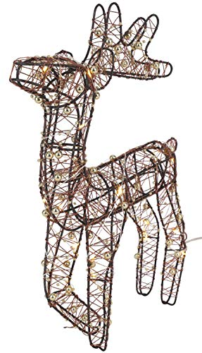 Christmas Concepts 35cm / 13.5' Battery Operated Indoor Copper Rattan Decorated Reindeer with Warm White LED Lights and Gold Beads Christmas Lighting Decorations (Copper & Gold)