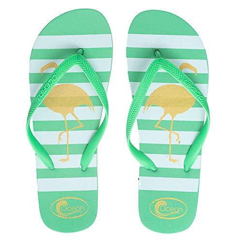 AQUAZON FLIP Flops Aquaboots Badeschuhe Aquaschuhe Strandschuhe Duschschuhe Flamingo in blau pink grün, Größe:40, Farbe:mintgrün