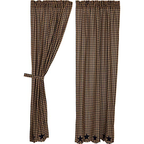 VHC Brands Navy Star Scalloped Panel Set of 2 84x40 Country Curtains, Navy and Tan