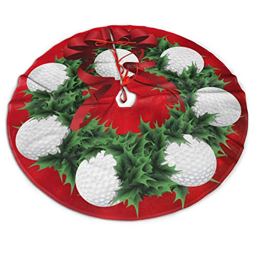 ASO-SLING Faux Fur Christmas Tree Skirt Golf Christmas Wreath with Red Sparkle Back Printed Xmas Tree Mat Christmas Ornaments Christmas Thanksgiving Holiday 30/36/48 Inch