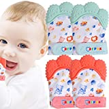 NEPAK Teething Mitten 2 Pairs-Baby Glove Stimulating Teether Toys for Boys & Girls-Teething Glove for Child (Cartoon Puppet,Coral and Mint Colours)