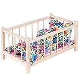 GOLDKIDS Puppenbett Naturholz Spielzeug Holzspielzeug mit Textilausrüstung Bettwäsche Matratze...
