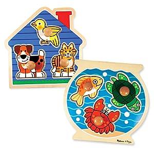 Melissa & Doug Animals Jumbo Knob Wooden Puzzles Set - Fish and Pets