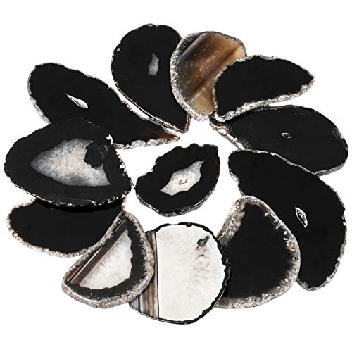 mookaitedecor 10 Piezas de rodajas de ágata de Cristal para bisutería, Piedra de geoda para Colgante, Collar, Abalorios, Manualidades, decoración, Piedra, Black/Undrilled(1.7-3.1')