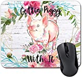 Gettin' Piggy with It Funny Pig Mouse Pad Pink Flowers on Faux Wood Tappetino per Mouse Desk Accessories for Women Farmhouse Decor,9.6x8.8 inch