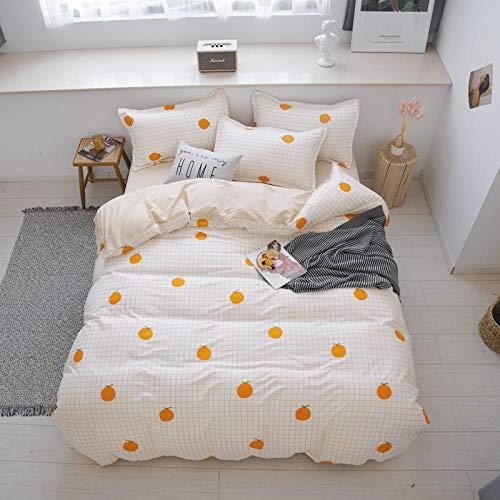 GTBDWOSC Simple Striped Fruit Orange 3D Bedding Set Super King 260X220 Cm - Printed Quilt Cover With Zipper Closure + Pillowcases, Microfiber Duvet Cover Set Easy Care For Children Teen Adult Singl