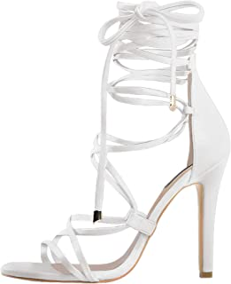f691df27d8 onlymaker Women's Gladiator Ankle Strap Lace up High Heels Open Toe  Stiletto Harmoni Heeled Strappy Sandals