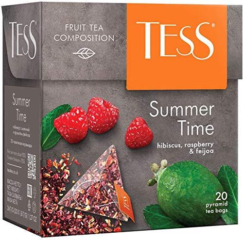 Tess, Summer Time, hibiscus, raspberry and feijoa (flor de Jamaica, frambuesa, feijoa) - Té de hoja en bolsitas piramidales (20), 36 gramos