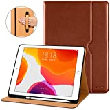 DTTO New iPad 7th Generation Case 10.2 Inch 2019, Premium Leather Business Folio Stand Cover with Built-in Apple Pencil Holder - Auto Wake/Sleep and Multiple Viewing Angles - Brown