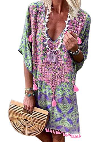 Happy Sailed Damen Kurzarm V-Ausschnitt Retro Bikini Cover Up Strandkleid Bikinikleid Beachwear , green/rose (152-22), S