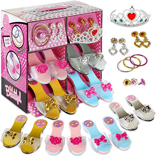 My First Princess Dress Up and Play Shoe and Jewelry Boutique with Crown and Fashion Accessories set for Girls Dress Up, Age 3-10 yrs Old and Dress Up Slipper Set