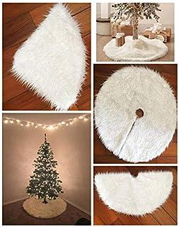 The Purple Tree Christmas Tree Skirt, Large 38 Inch White Fur Tree Skirt, Premium Fur Tree Skirt for Christmas Decoration...