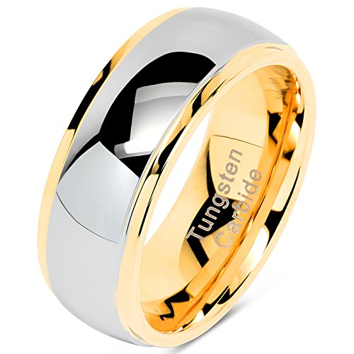 100S JEWELRY Tungsten Rings for Men Women Wedding Band Two Tones Gold Silver Engagement Sizes 6-16 (Tungsten, 10)
