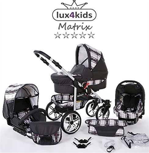 Chilly Kids Matrix II winter-kinderwagen set met slaapzak, autostoel regenbescherming muggennet zwenkwielen 52 grafiet & ruiten & naad roze